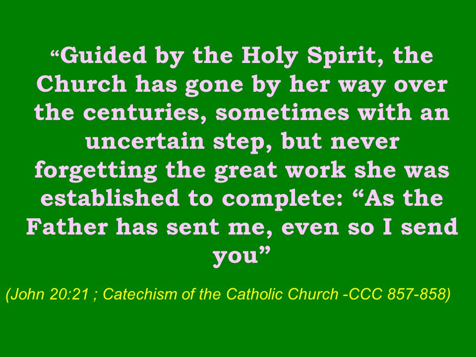 Guided by the Holy Spirit, the Church has gone by her way over the centuries, sometimes with an uncertain step, but never forgetting the great work she was established to complete: As the Father has sent me, even so I send you