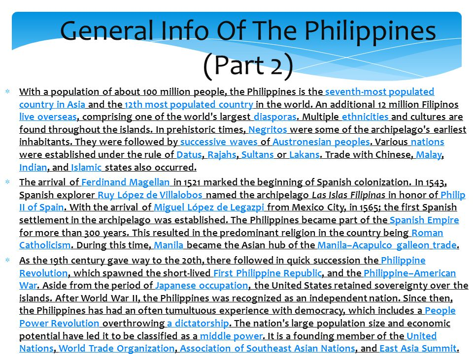 General Info Of The Philippines (Part 2)