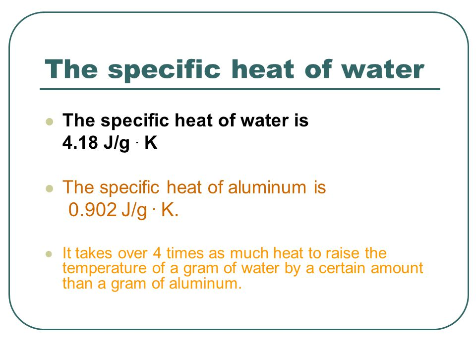 The specific heat of water