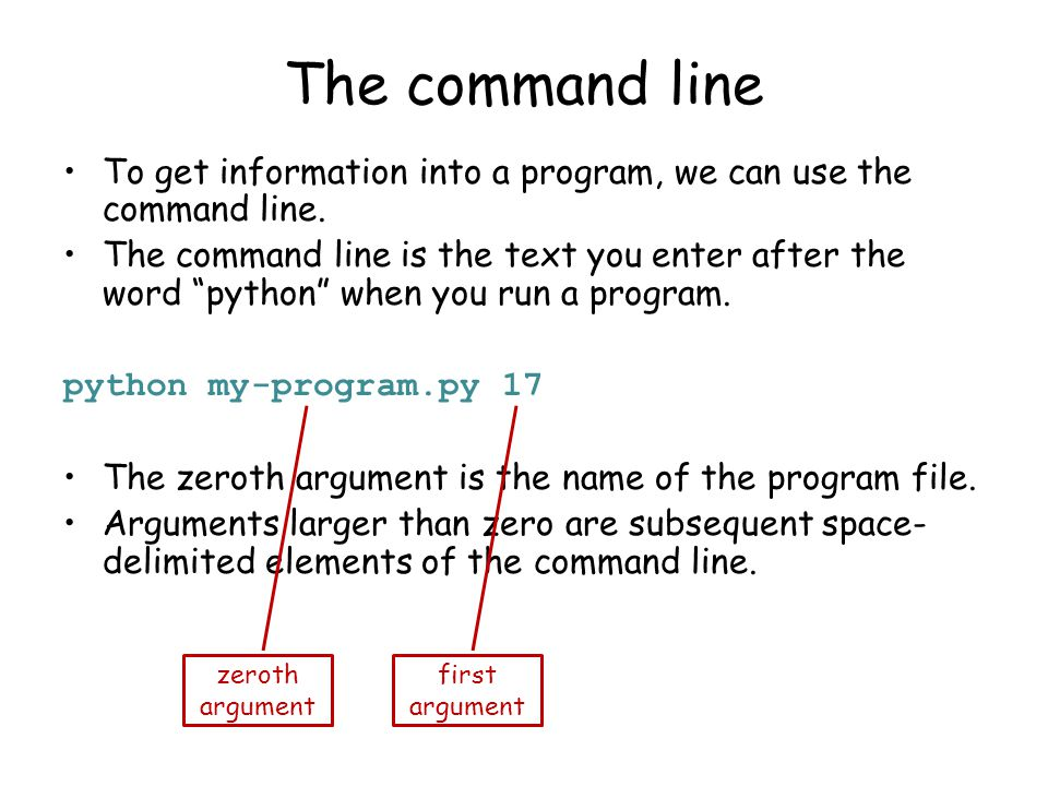The command line To get information into a program, we can use the command line.