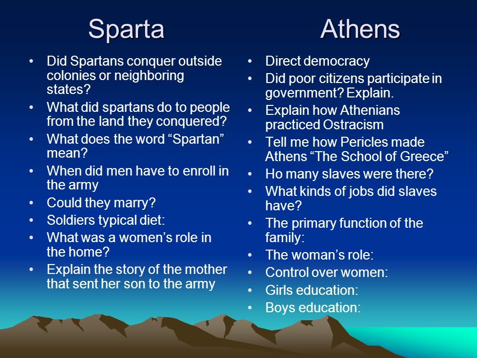 Sparta Athens Did Spartans conquer outside colonies or neighboring states