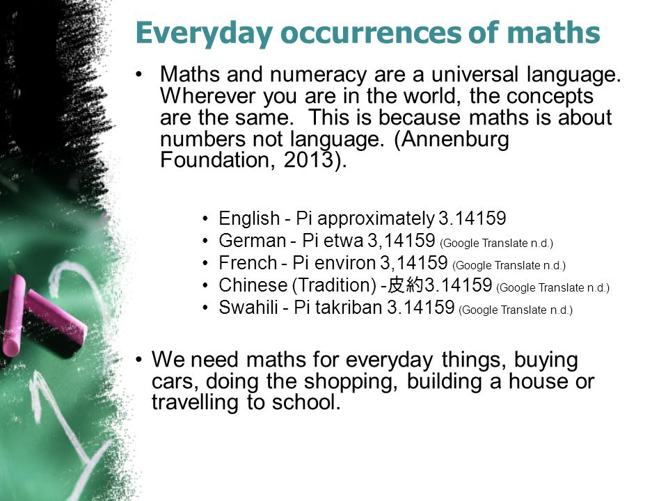 Everyday occurrences of maths