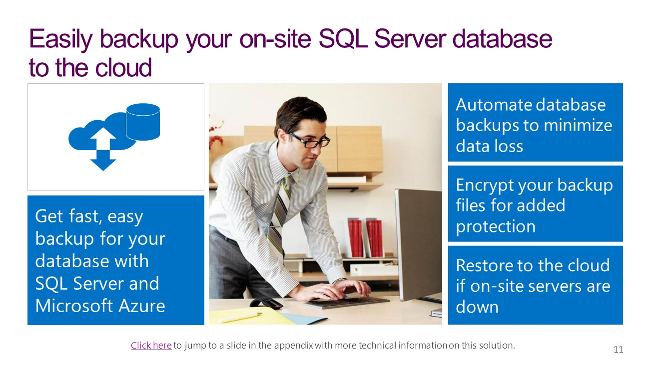 Easily backup your on-site SQL Server database to the cloud