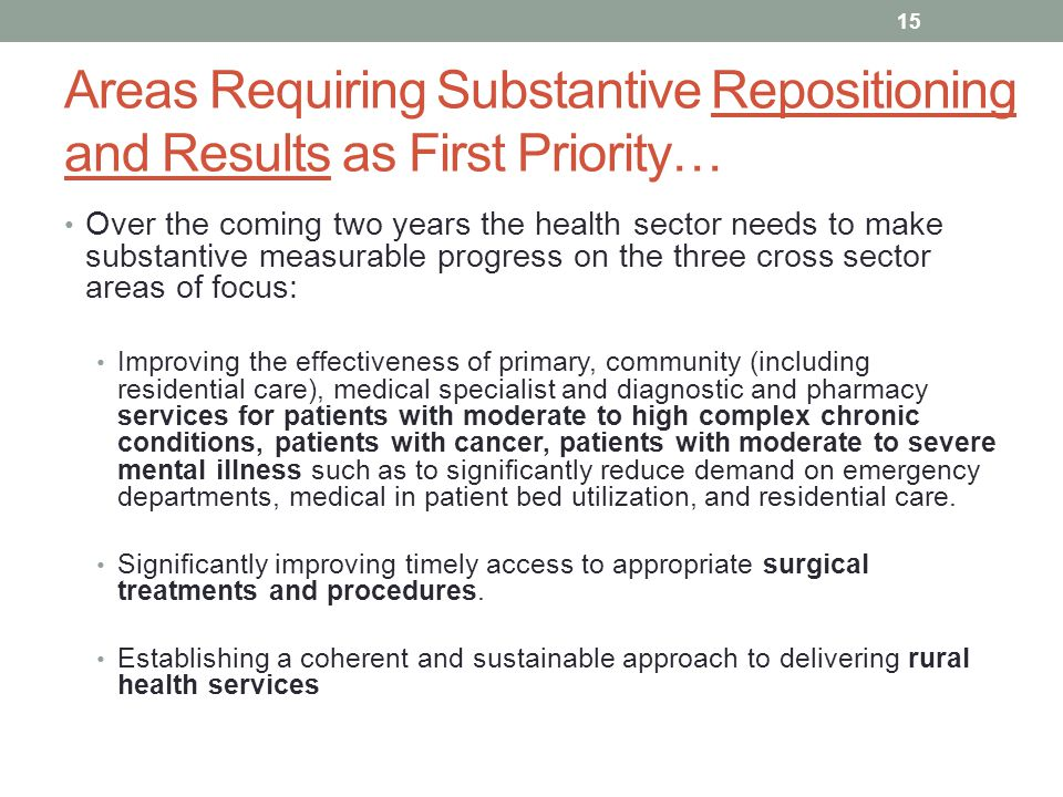 Areas Requiring Substantive Repositioning and Results as First Priority…