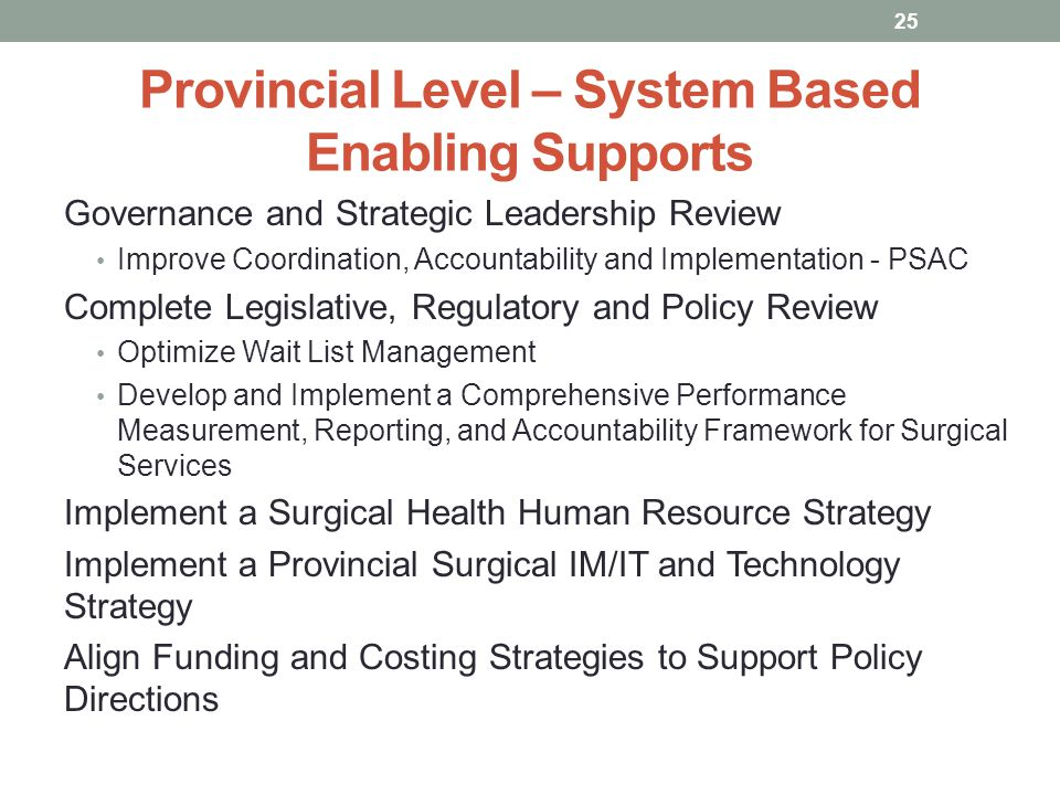Provincial Level – System Based Enabling Supports