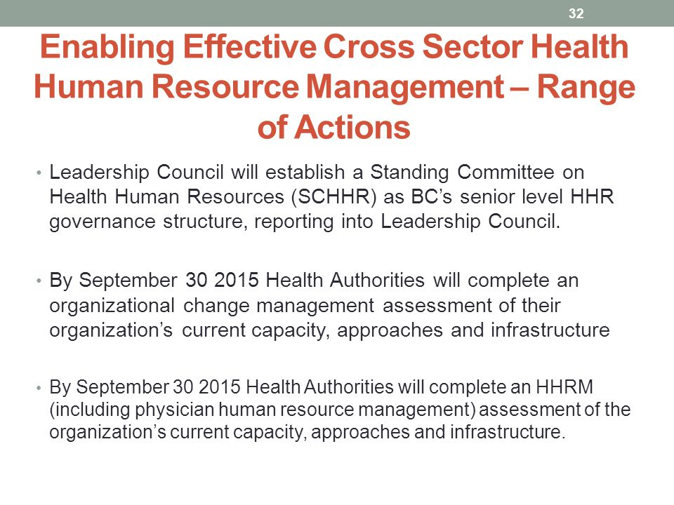 Enabling Effective Cross Sector Health Human Resource Management – Range of Actions