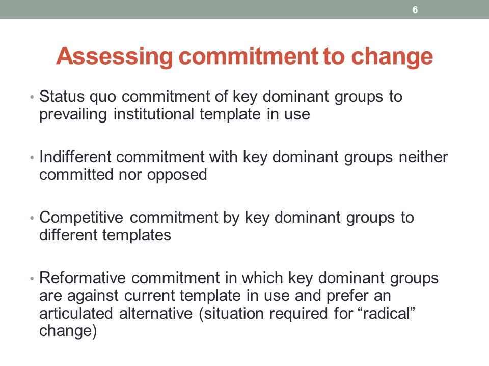 Assessing commitment to change