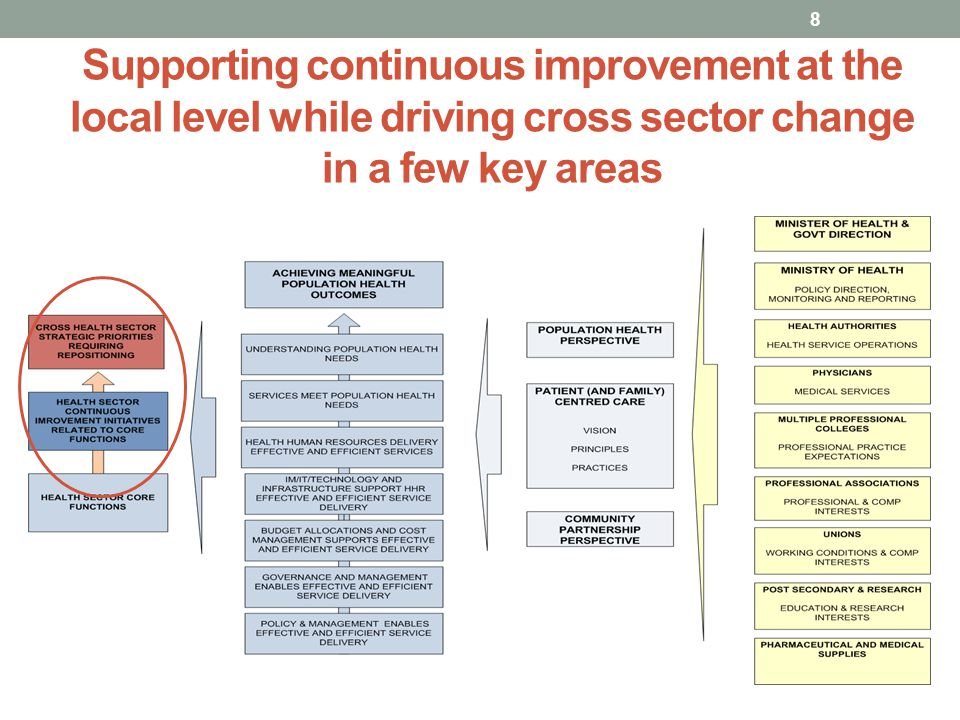Supporting continuous improvement at the local level while driving cross sector change in a few key areas