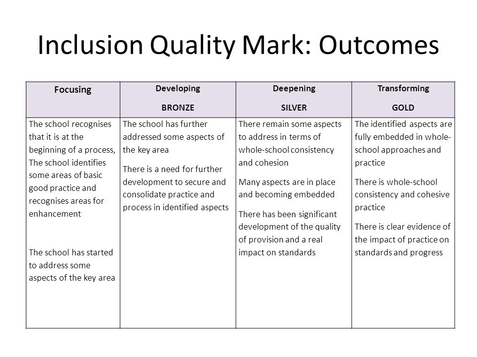 Inclusion Quality Mark: Outcomes