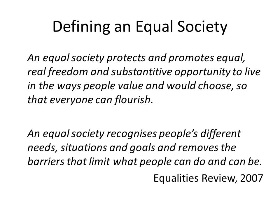 Defining an Equal Society