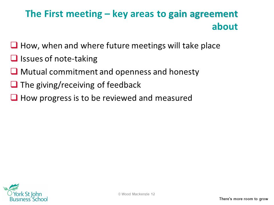 The First meeting – key areas to gain agreement about