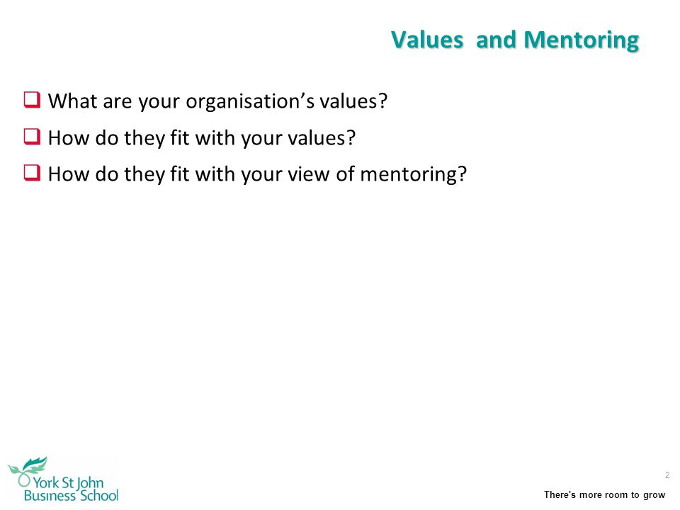 Values and Mentoring What are your organisation's values