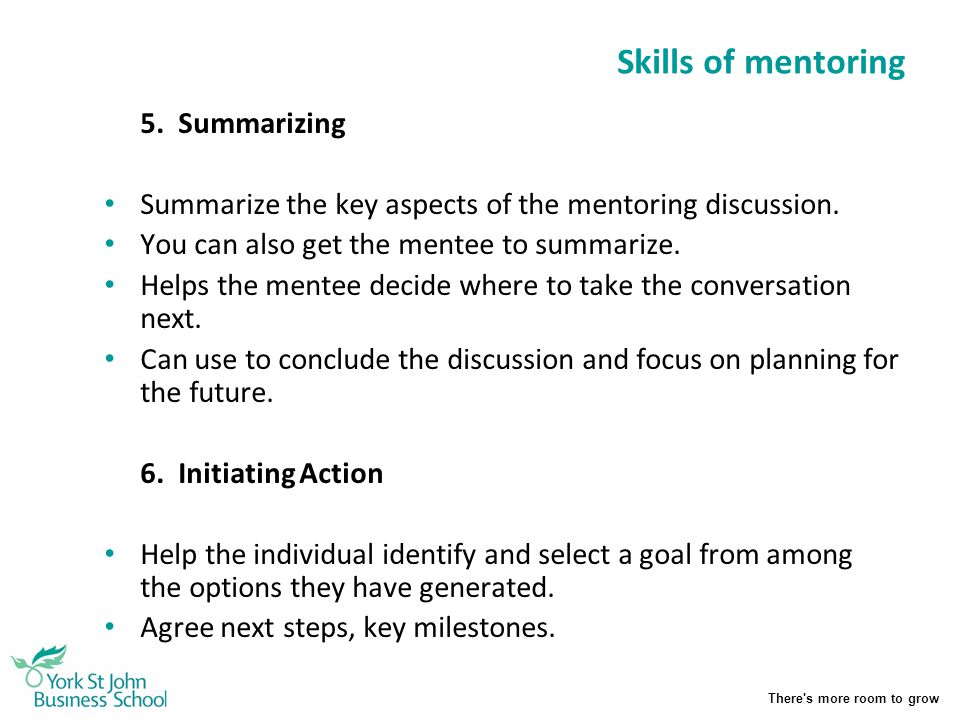 Skills of mentoring 5. Summarizing