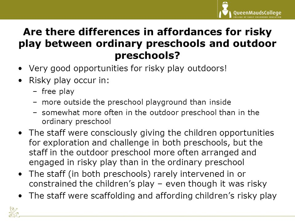 Are there differences in affordances for risky play between ordinary preschools and outdoor preschools