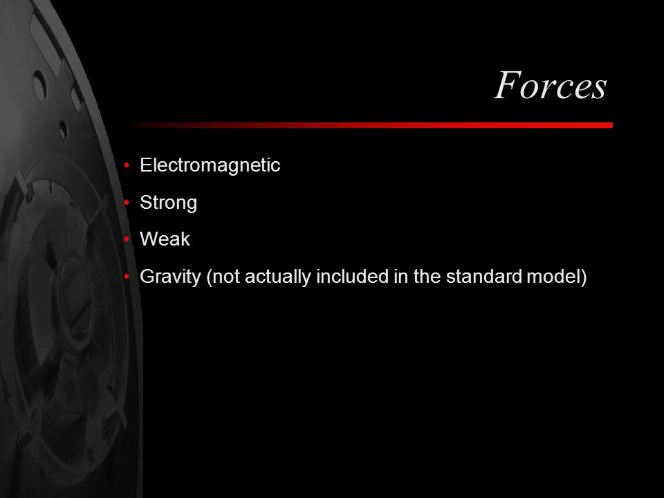 Forces Electromagnetic Strong Weak