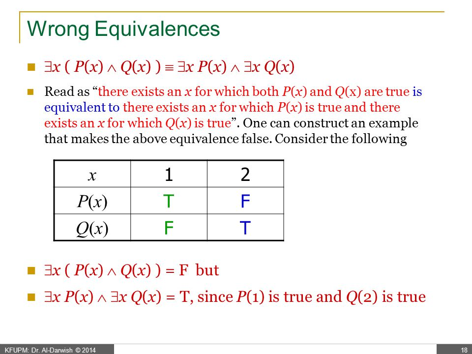 Wrong Equivalences x 1 2 P(x) T F Q(x)