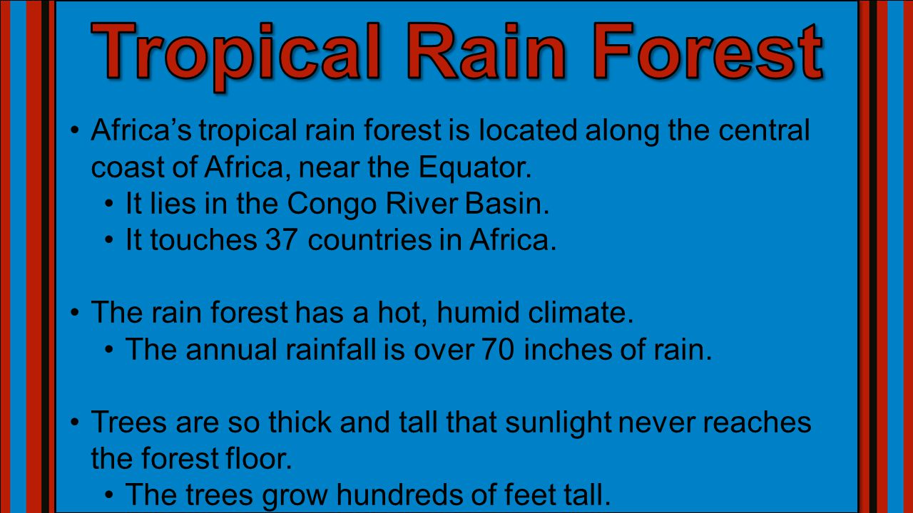 Tropical Rain Forest Africa's tropical rain forest is located along the central coast of Africa, near the Equator.
