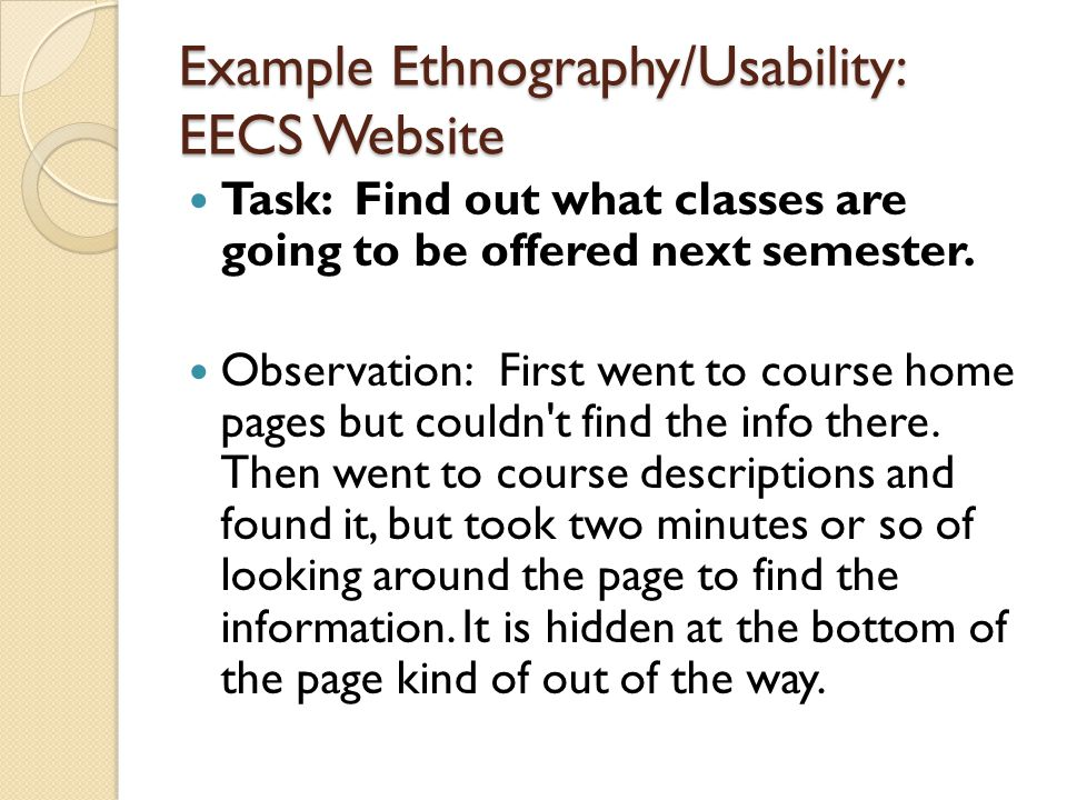 Example Ethnography/Usability: EECS Website