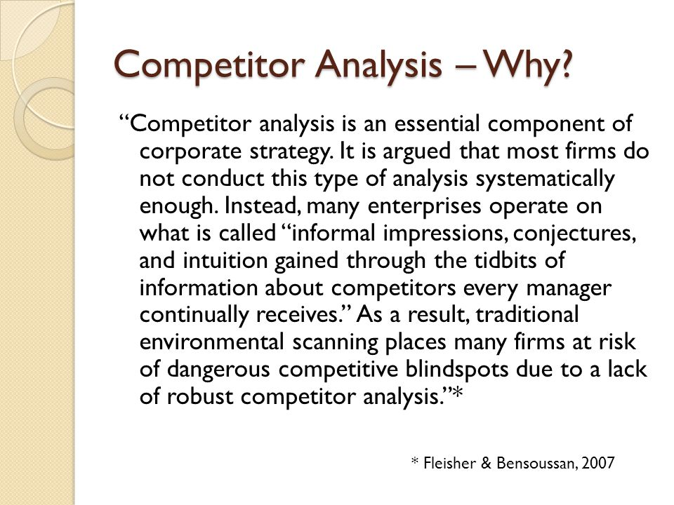 Competitor Analysis – Why