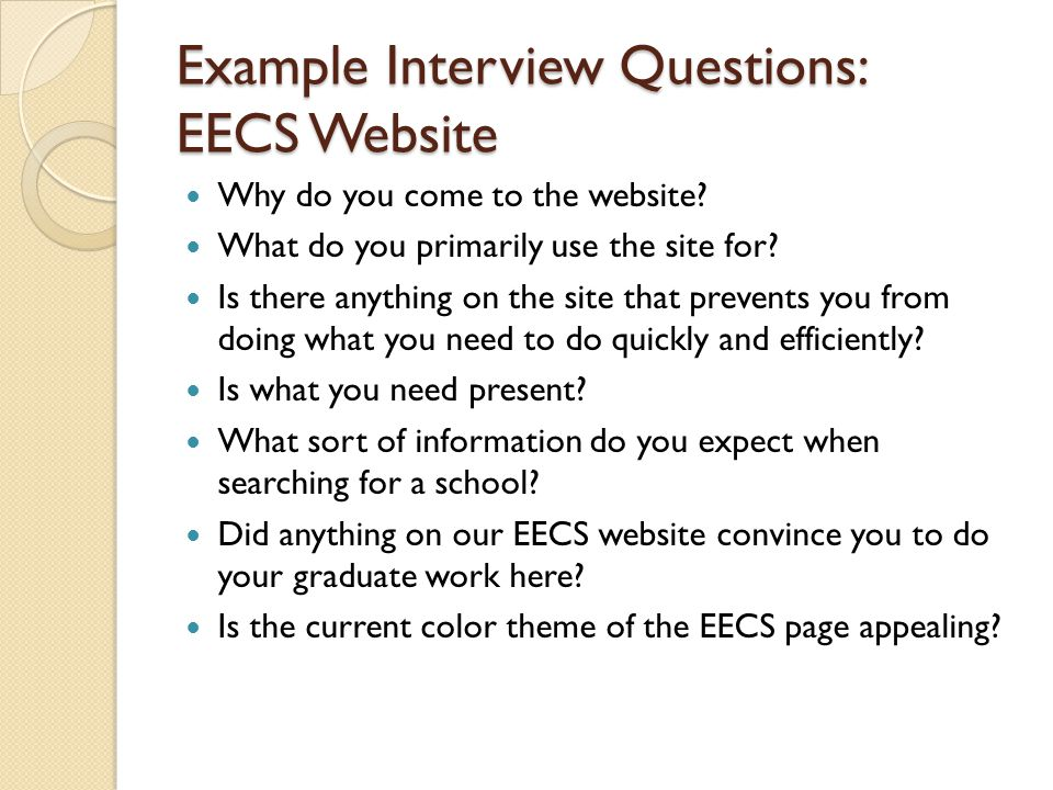 Example Interview Questions: EECS Website
