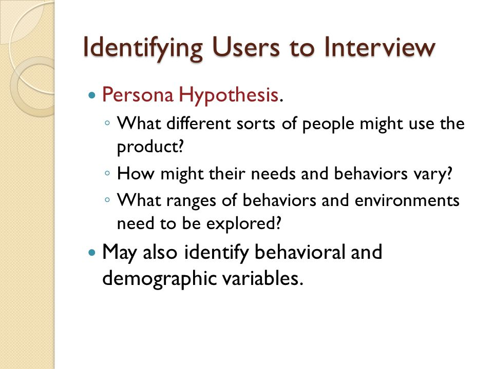 Identifying Users to Interview