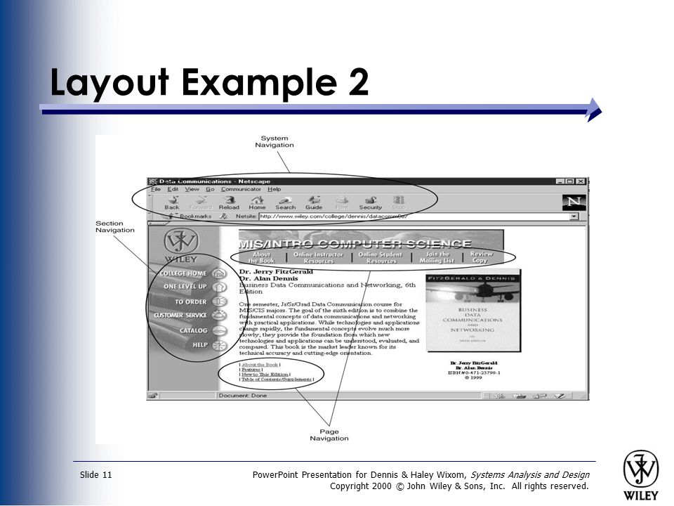 Layout Example 2 PowerPoint Presentation for Dennis & Haley Wixom, Systems Analysis and Design.