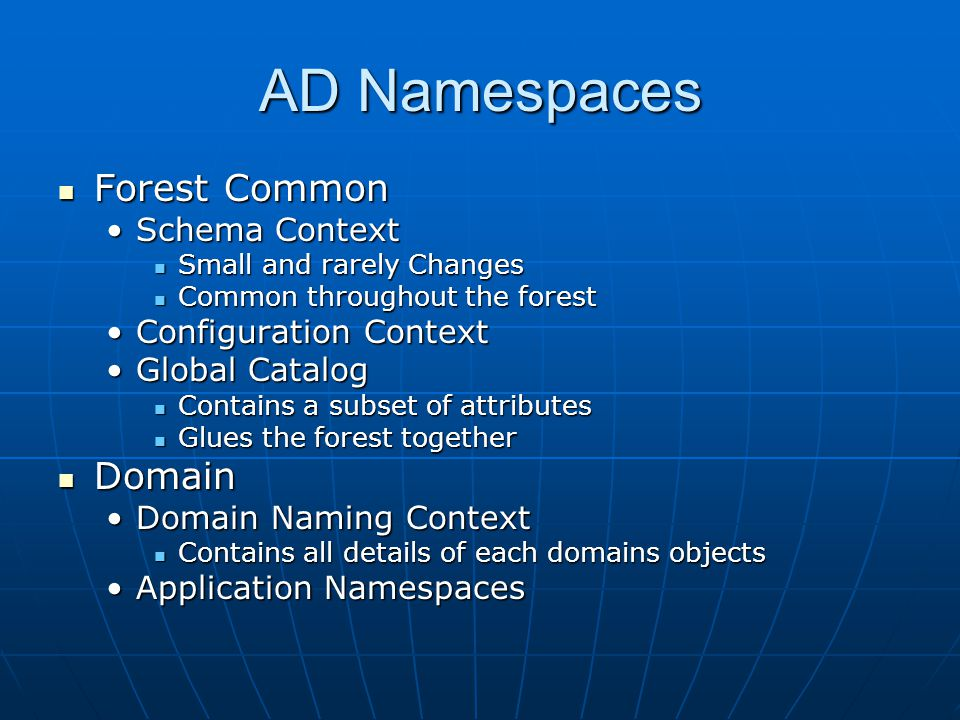AD Namespaces Forest Common Domain Schema Context