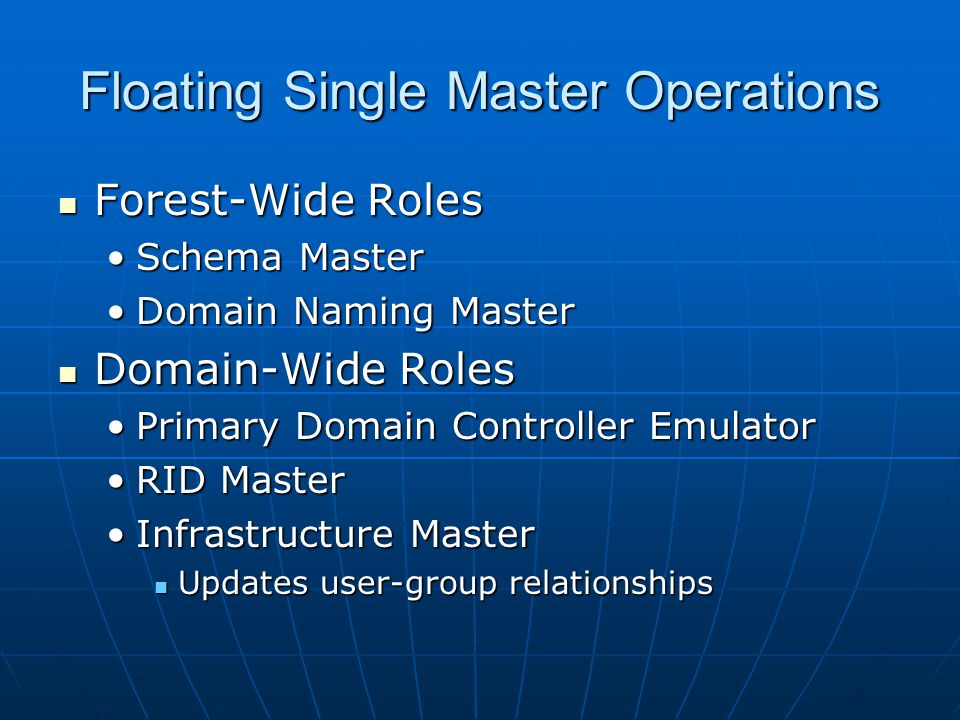 Floating Single Master Operations