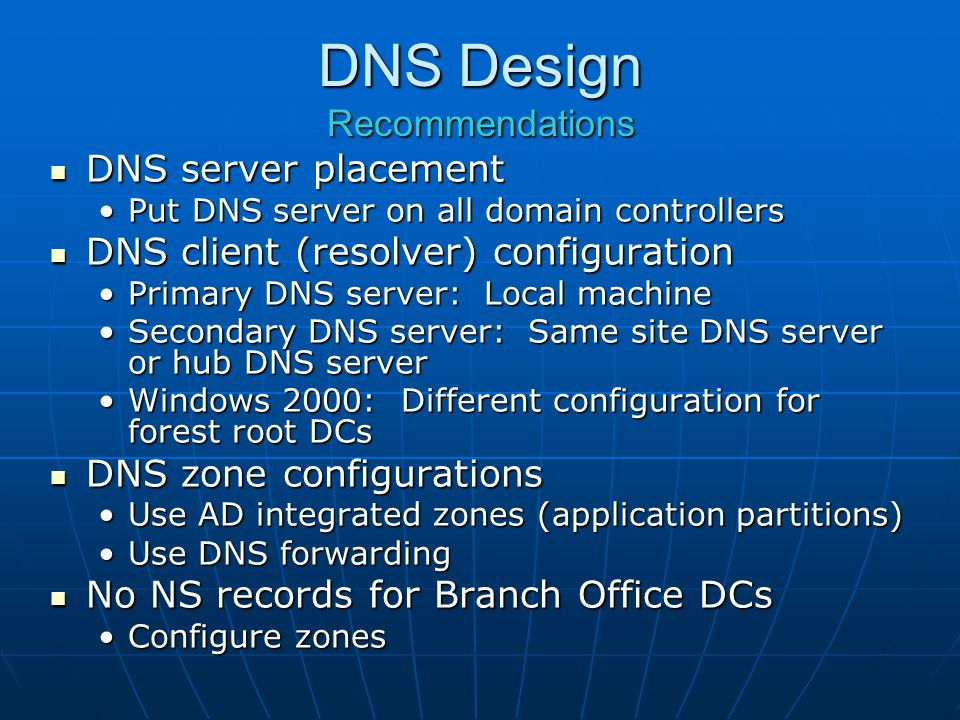 DNS Design Recommendations