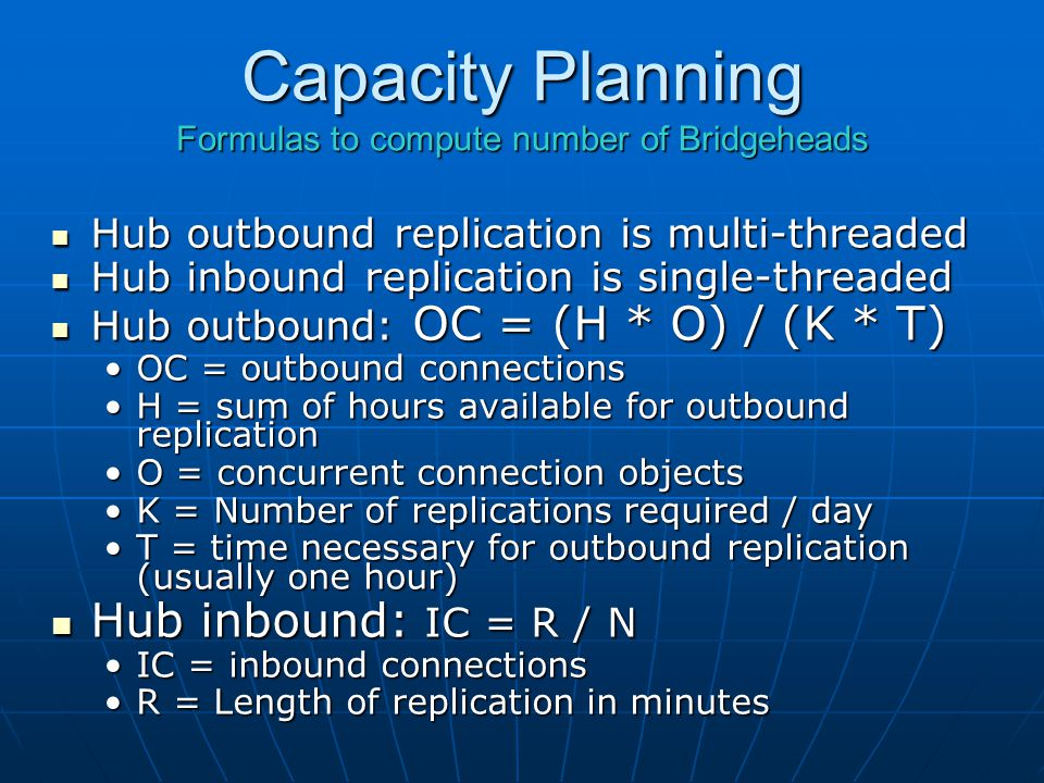 Capacity Planning Formulas to compute number of Bridgeheads