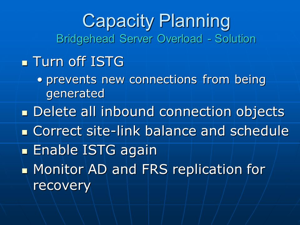 Capacity Planning Bridgehead Server Overload - Solution
