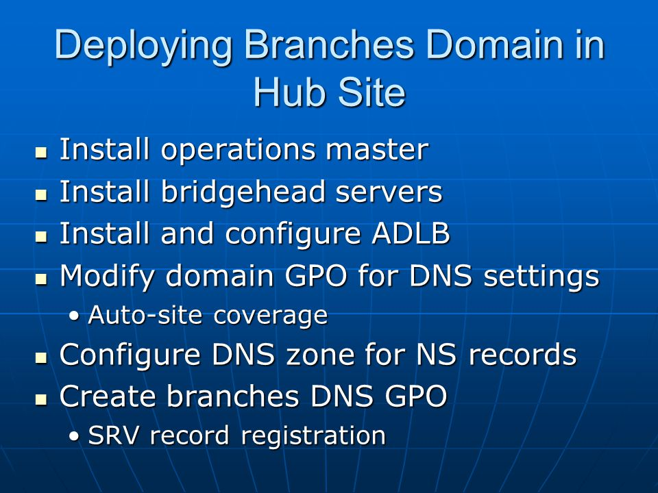 Deploying Branches Domain in Hub Site