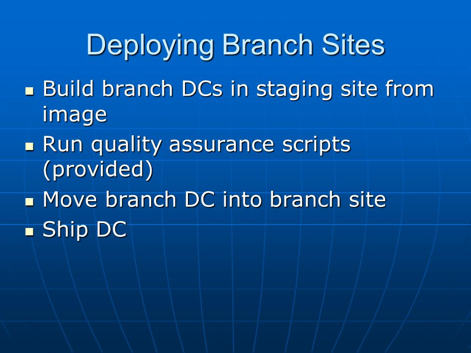 Deploying Branch Sites