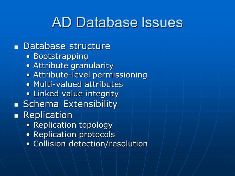 AD Database Issues Database structure Schema Extensibility Replication