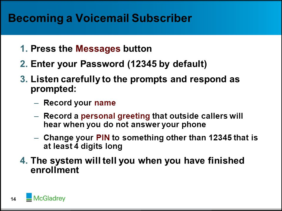 Becoming a Voicemail Subscriber