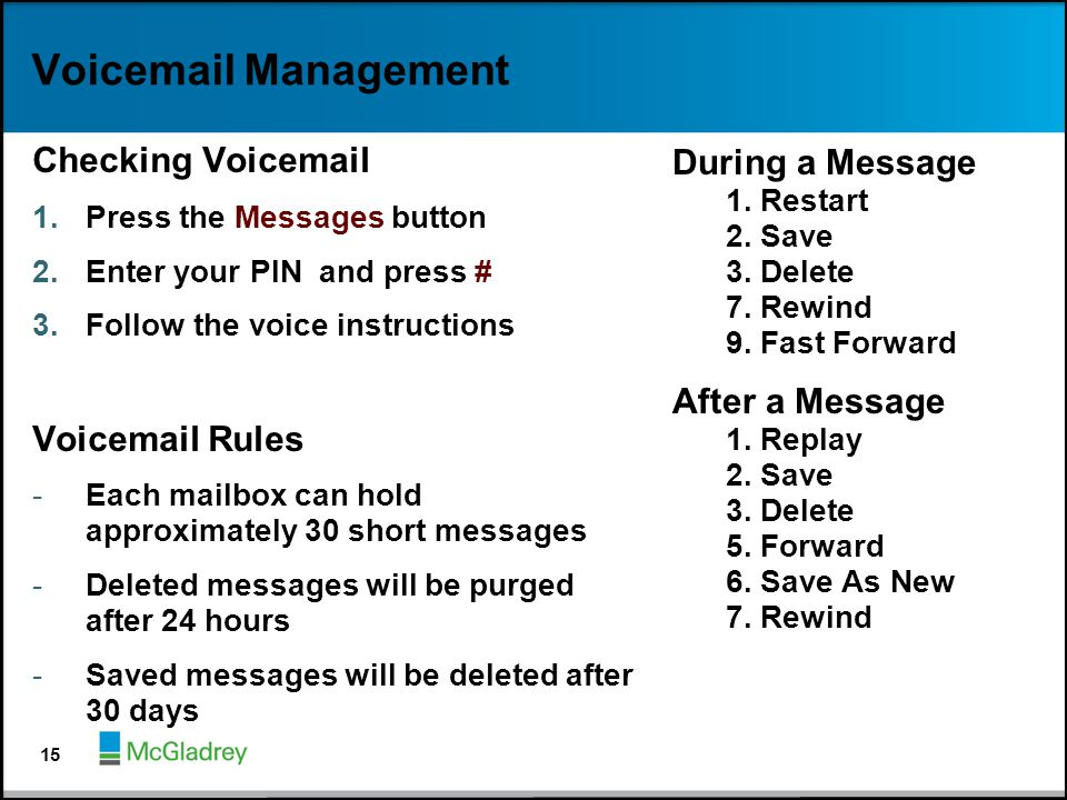Voicemail Management Checking Voicemail