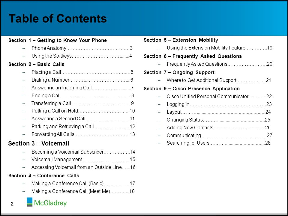 Table of Contents Section 3 – Voicemail