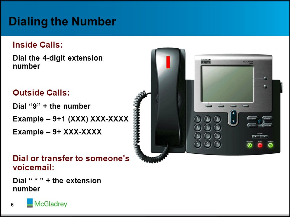Dialing the Number Inside Calls: Outside Calls: