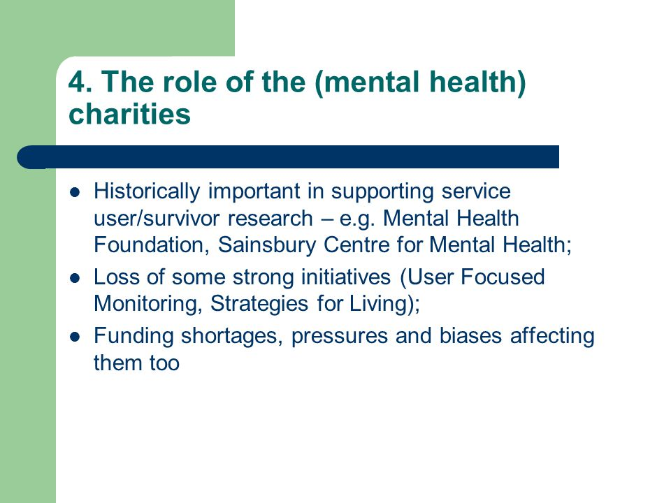 4. The role of the (mental health) charities