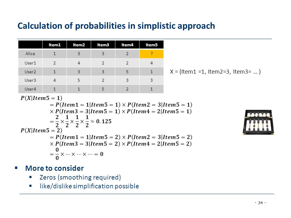 Calculation of probabilities in simplistic approach