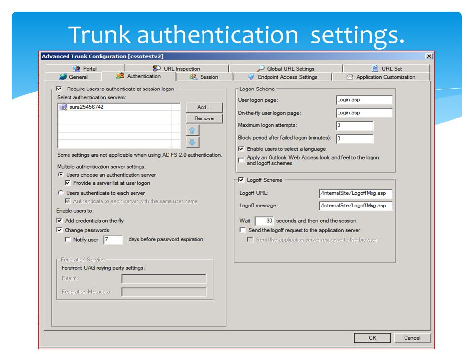 Trunk authentication settings.