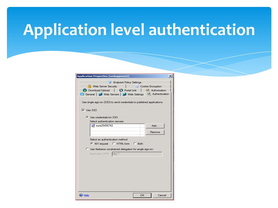 Application level authentication