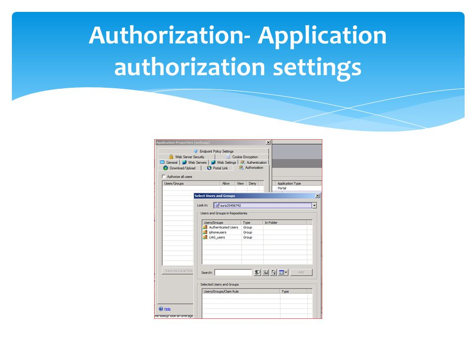 Authorization- Application authorization settings