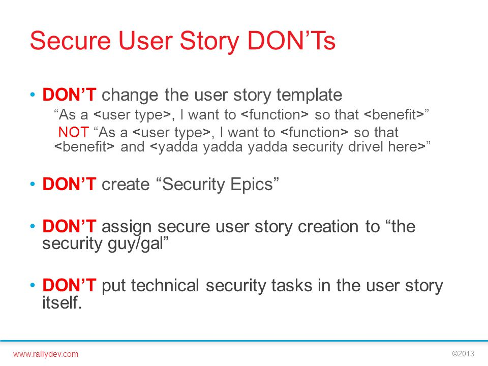 Secure User Story DON'Ts