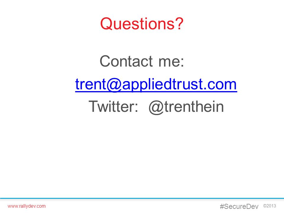 Contact me: trent@appliedtrust.com Twitter: @trenthein