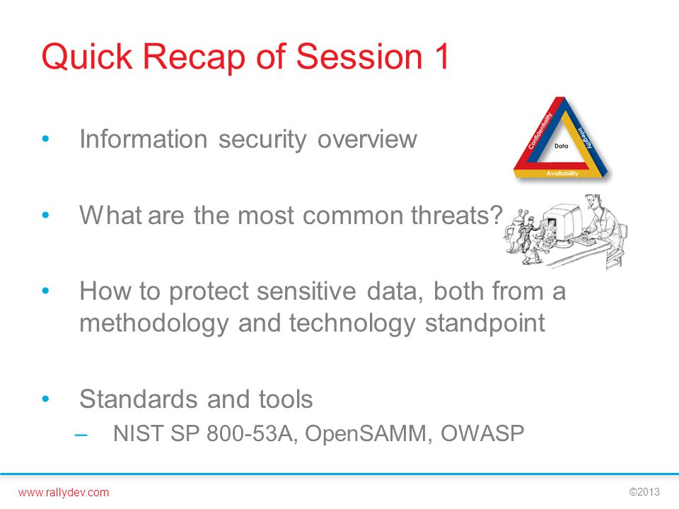 Quick Recap of Session 1 Information security overview