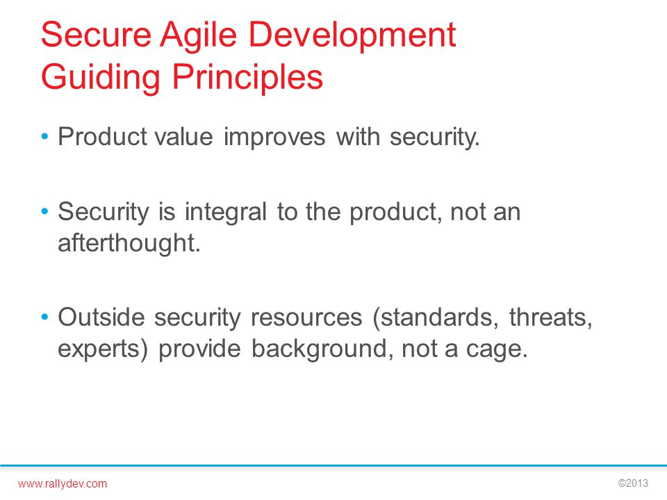 Secure Agile Development Guiding Principles