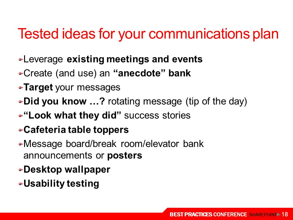 Tested ideas for your communications plan