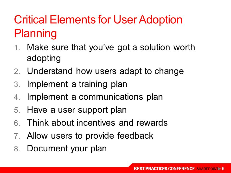 Critical Elements for User Adoption Planning