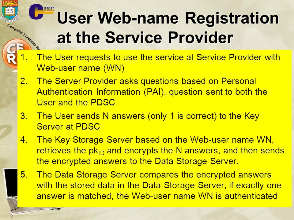 User Web-name Registration at the Service Provider